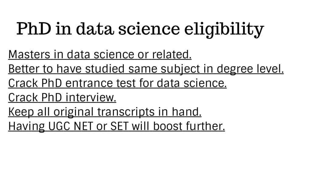 PhD in data science India